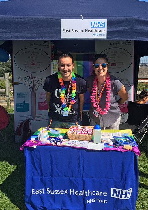 Zac Jepson and Kim Novis from ESHT at Hastings Pride