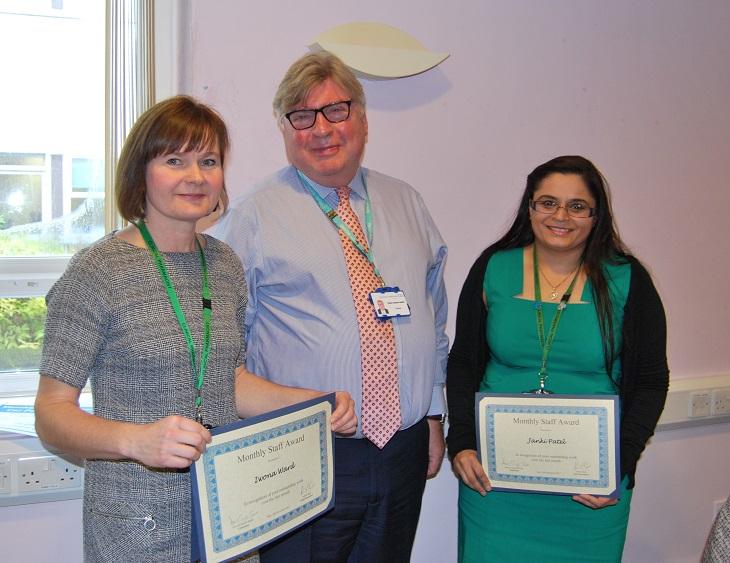Iwona Ward and Janki Patel with the Chairman, David Clayton-Smith.