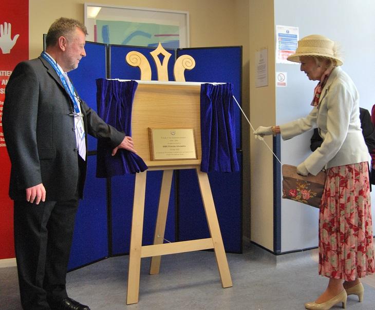 Her Royal Highness Princess Alexandra unveiling the plaque
