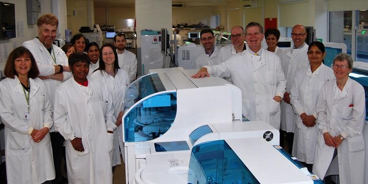 Stephen Lloyd with pathology laboratory team
