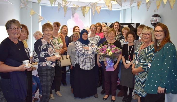 Elaine Papps Specialist Children's Diabetic Nurse  surrounded by colleagues
