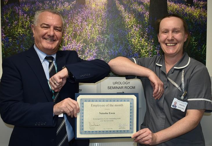 Specialist Nurse Natasha Ewen with Chairman Steve Phoenix