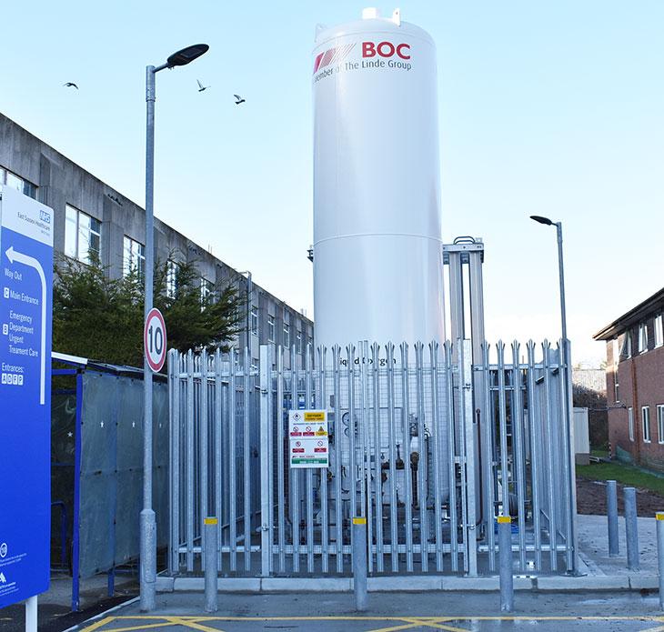 Medical oxygen tank at Eastbourne DGH.