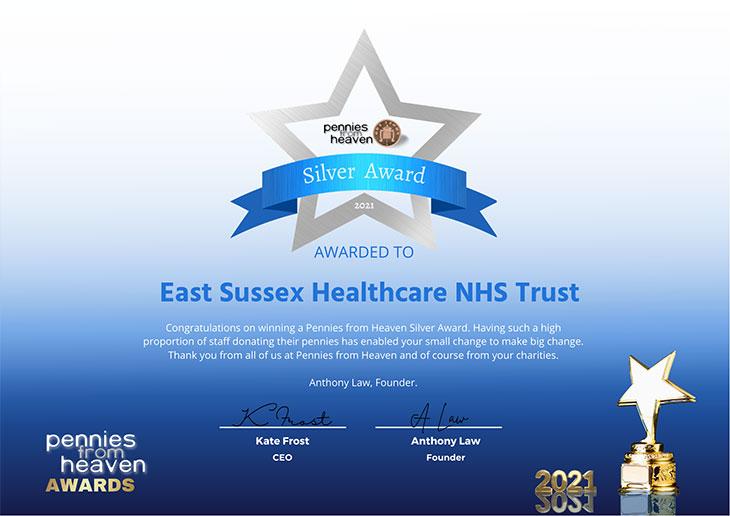 ESHT wins Silver Pennies from Heaven Award certificate